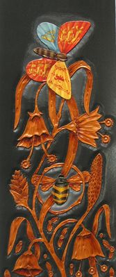 Leather, Mark Rowney, Artist, Prince Edwards Book 'All the Beautiful creatures of the North' (detail). These are images of the journal cover commissioned for His Royal Highness Prince Edward Duke of Wessex as a Gift and Memory of his opening of the Allendale Forge Studios and Gallery. The Cover represents a months work. Hand carved and painted. The Inside details the Royal crest of Wessex and the Crest of Northumberland, both in the form of butterflies.