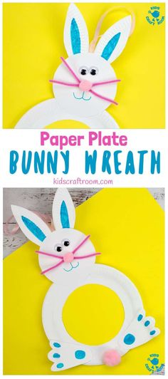 This Paper Plate Easter Bunny Wreath Craft is so cute! Such a fun Easter craft for kids and a lovely Easter Bunny craft to decorate your doors this Spring. What a fun and easy Spring craft for kids. Paper Plate Crafts For Kids, Spring Crafts For Kids, Easter Activities, Craft Activities For Kids, Craft Kids, Kids Crafts, Easy Crafts, Easter Art, Easter Bunny