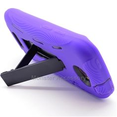 Click Image to Browse: $9.95 Purple Kickstand Double Layered Hard Case Gel Cover For HTC One S