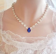 Navy BLUE Wedding Necklace VINE Necklace Sapphire Blue Y Bridal