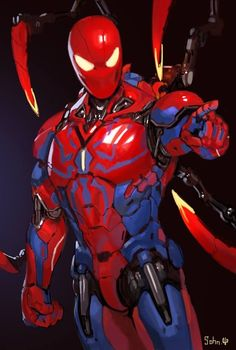 this is a book for my ocs i never really share them but with my friends on facbook i hope u all enjoy them_Iron Spider mark 5 Marvel Comics, Comics Anime, Comic Manga, Marvel Heroes, Marvel Avengers, Comic Art, Spiderman Suits, Spiderman Art, Amazing Spiderman