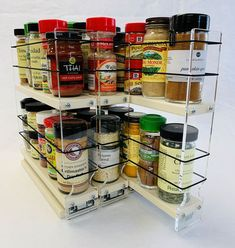 Organize cabinet spices or other small kitchen items in this slim multi-level organizer rack from Vertical Spice. This clear-view rack has 3 slide out drawers. Small Kitchen Plans, Small Farmhouse Kitchen, Small Apartment Kitchen, Wooden Kitchen, Modern Farmhouse, Spice Rack Organization, Spice Rack Organiser, Small Kitchen Organization, Kitchen Storage
