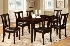 7 PC Espresso Wood Dining Room Set Table Chairs Padded Leather Seat