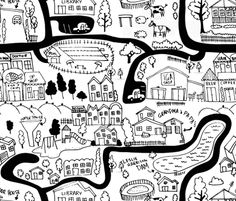 all the roads lead to home fabric by laura_the_drawer on Spoonflower - custom fabric