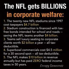 "How did ""We The People"" allow things get to a point where the NFL gets billions in corporate welfare?"