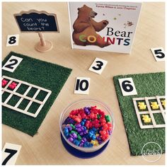 "Weekly Round-Up: September 22 A Pinch of Kinder: A Simple Number Sense Provocation with ""Bear Counts"" Numbers Kindergarten, Numbers Preschool, Math Numbers, Teaching Math, Preschool Activities, Kindergarten Inquiry, Preschool Schedule, Montessori Math, Alphabet Activities"