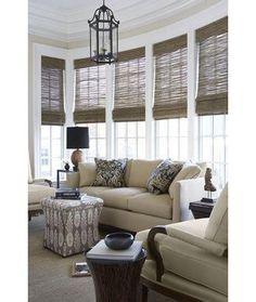 Woven Wood Shades - Beach House Blinds - Mediterranean Window Treatments by Distinctive Window Designs