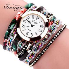 5119f1ecdbb90 Duoya Brand Fashion Round Dial Quartz Watch Women Flower Wristwatch Steel  Luxury Bracelet Watch Multilayer Leather
