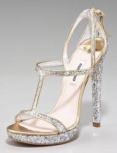 Beautiful High Heeled Glitter Sandals