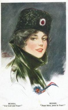 Patriotic women postcards by Arthur Butchur - Russia