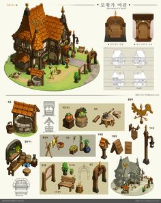 ArtStation - An adventurer's hotel, IML (Lim hannah) Fantasy City, Fantasy House, Building Concept, Building Art, Environment Concept Art, Environment Design, Prop Design, Game Design, Isometric Art