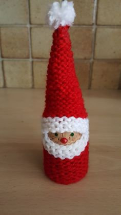 Little Fathers Christmas! Crochet Christmas Decorations, Crochet Decoration, Christmas Crochet Patterns, Christmas Knitting, Christmas Wine, Christmas Makes, Christmas Crafts, Spool Crafts, Diy Crafts To Do