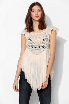 Pins And Needles Pin Dot Lace Babydoll Top #urbanoutfitters