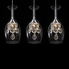 3 Wine glasses Crystal Bar Chandelier Ceiling Lights Pendant Lamp LED Lighting