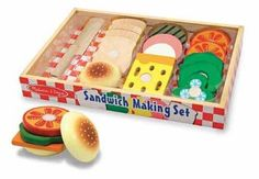 Stack your sandwich the way you like it with the 16 fixins in this wooden sandwich kit. Use the wooden knife to slice apart the pieces--a satisfying crunch sound tells you your ingredients are fresh! The included wooden storage tray is perfect for keeping it all organized between meals.