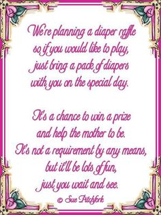 Diaper Wishing Well Poem | Poem: Diaper Raffle Baby Shower Invitation  (w/printable