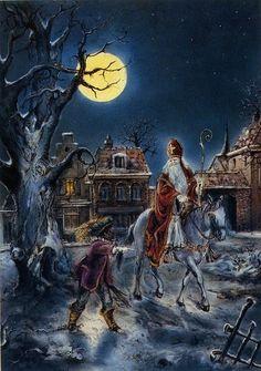 🌟Tante S!fr@ loves this📌🌟Winterfoto's Father Christmas, Christmas Art, Vintage Christmas, Saints For Kids, Holland Windmills, Catholic Saints, Christmas Illustration, Saint Barbara, Vintage Santas