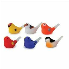 "Kikkerland Bird Shaped Water Whistle in Assorted Colors by Kikkerland. $4.50. Comes in assorted colors.. Makes Bubbles.. Does not have to be used in bath.. You will receive 1 of the six colors.. Measure approx. 3x2x2"".. Makes bubbles too!"