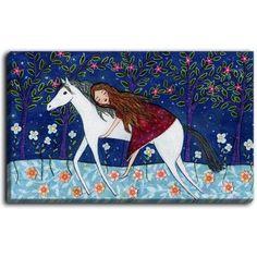 Horse Painting - Horse Art - Folk Horse - Horse Wall Art - Children Decor - Nursery Art Magical fairytale scenery of a girl on a beautiful white horse. Painting Prints, Canvas Prints, Painting Art, Horse Illustration, Large Art Prints, Horse Wall Art, Fairytale Art, Art Wall Kids, Nursery Art