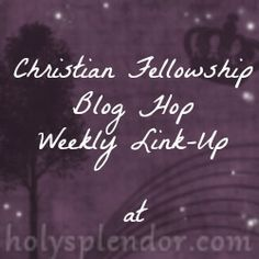 Christian Fellowship Friday at For the Display of His Splendor - #linkup #bloghop open through Monday May 12
