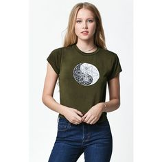 La Hearts Yin Yang Short Sleeve T-Shirt ($23) ❤ liked on Polyvore featuring tops, t-shirts, short sleeve t shirts, crop tee, short sleeve crew neck tee, crew neck tee and crop t shirt