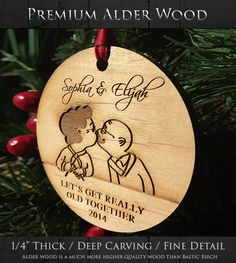 Grandparents Gift - Our First Of Many Christmas Ornament - Personalized Funny Newlywed Gift - Let's Get Really Old Together - SKU#47