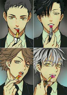 Haikyuu Captains in drag— I love them! /// Haikyuu Daichi Bokuto Kuroo Oikawa