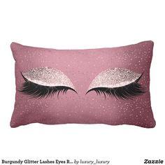 Burgundy Glitter Lashes Eyes Rose Makeup Sleep Lumbar Pillow - decor diy cyo customize home Gold Pillows, Diy Pillows, Custom Pillows, Decorative Pillows, Throw Pillows, Cushions, Eyelash Pillow, Best Pillows For Sleeping, Cushion Cover Designs