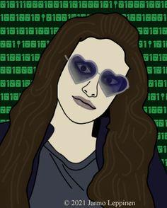 Darlene from Mr. Robot. Digital drawing, 2021 Jarmo Leppinen Robot, My Arts, Digital, Drawings, Artwork, Work Of Art, Auguste Rodin Artwork, Sketches, Artworks