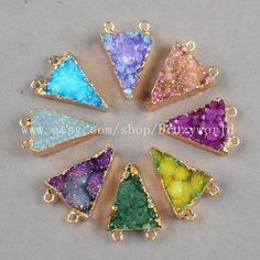 Gold Plated Triangle Rainbow Drusy Agate Druzy Geode by Druzyworld