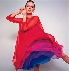 INSPIRATION & Take-away: Nicole de Lamargé 1967. The take-away is, designers today are still using these bold color combinations. A white blouse with a dark-wash jean and a bright, bold scarf or cowl can get the same feeling in a more casual way.
