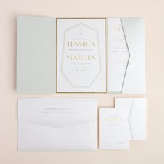 Bold typography and elegant lines gives a unique shape to this generously sized wedding invitation. Its strong presence is enough to get their attention, and it pairs beautifully with any of our 6x9 enclosures for a more polished look.