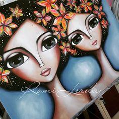 Big Eyes Paintings, Frida Art, Rangoli Designs, Whimsical Art, Acrylic Art, Mixed Media Art, Ceramic Art, Diy Art, Art Drawings