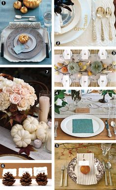 Thanksgiving-Place-Settings - I LOVE the touch of blue!