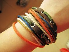 Soft Leather Multicolour Ropes Men or Women Leather Bracelet Wristband Cuff Bracelet  192A