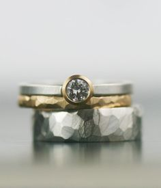 Moissanite and mixed metals wedding band set Minimalist, modern, timeless design. These rings defy gender and give you a beautiful alternative to the Wedding Bands For Him, Matching Wedding Bands, Wedding Band Sets, Womens Wedding Bands, Wedding Rings For Women, Wedding Rings Simple, Alternative Wedding Rings, Wedding Ring Designs, Ring Verlobung