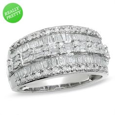 I've tagged a product on Zales: 1 CT. T.W. Baguette and Round Diamond Three Row Ring in 10K White Gold