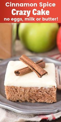This cinnamon spice crazy cake is an amazing fall cake recipe! Also called a wacky cake and made without eggs, milk or butter. This is our family's favorite fall cinnamon cake because it's so easy! Crazy Cakes, Crazy Cake Recipes, Fall Cake Recipes, Sweet Recipes, Köstliche Desserts, Delicious Desserts, Dessert Recipes, Eggless Desserts, Cinnamon Cake