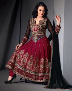 Black & Red Anarkali in classic embroidery and jardoshi work!