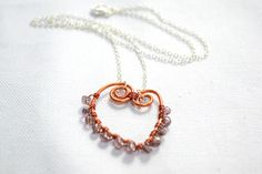 Handmade Wire Wrapped Heart Shaped Pendant Necklace with Seed Beads  #DIY #Pendant #Necklace