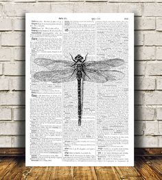 Amazing Dragonfly decor. Gorgeous Insect poster for your home and office. Adorable Bug print. Pretty contemporary Modern print.  SIZES: A4 (8.3 x