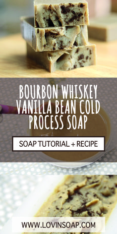 This is a recipe and step-by-step tutorial on how to make Bourbon Whiskey Vanilla Bean Cold Process Soap. It's a little bit tricky, but this tutorial shows you how!