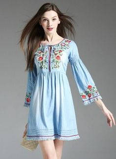 Stylish Dress Designs, Stylish Dresses, Casual Dresses, Girls Dresses, Frock Fashion, Denim Fashion, Boho Fashion, Fashion Dresses, Kinds Of Clothes