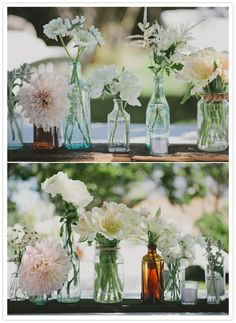 rows of flower vases this-is-it-my-wedding-oops-our-wedding-i-mean Wedding Bottles, Wedding Centerpieces, Wedding Table, Diy Wedding, Wedding Decorations, Wedding Ideas, Wedding Backyard, Wedding Pins, Rustic Wedding