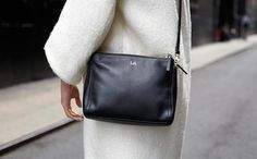 The Pearl from Lo & Sons I Perfect Black Cross Body Bag (in Black w/ camel interior & gold hardware)