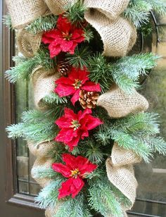 Country Christmas Swag Burlap Swag Holiday Wreath by LuxeWreaths