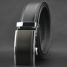 Mens Stylish Black Leather Belt With Automatic Buckle