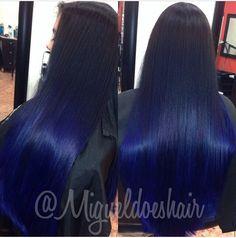Ideas Hair Dyed Black Beautiful For 2019 Dark Blue Hair, Blue Ombre Hair, Deep Blue, Medium Layered Hair, Medium Hair Cuts, Love Hair, Gorgeous Hair, Beautiful, Pretty Hairstyles