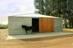 Caballeriza la Solana by Nicolas Pinto da Mota, Perforated walls and sliding timber doors feature in this stable in Uruguay Horse Stables, Horse Barns, Space Architecture, Architecture Details, Cabana, Timber Door, Horse Ranch, Modern Barn, Modern Ranch