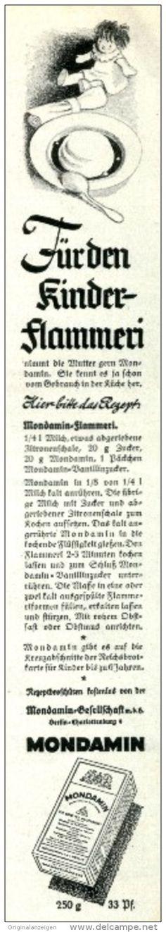 Original-Werbung/ Anzeige 1940 -  REZEPT KINDER - FLAMMERI / MONDAMIN - ca. 35 x 220 mm
